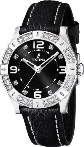 Festina Women's Fashion F16537/2 Black Leather Quartz Watch with Black Dial