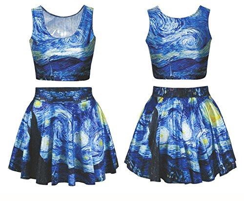 Batman+tank+top Products : Benibos Womens Digital Print Reversible Crop Top + Skirt 2 Pieces Vintage Clubwear