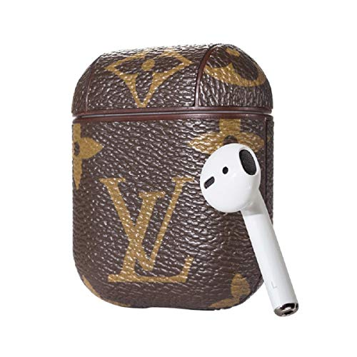 Wireless Headset Charging Box Case New Luxury Designer PU Leather Fashion Graphic Style Full Protective Cover for Apple Airpods with Hook Handle (Brown) ()