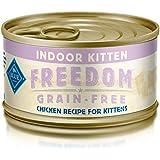 Blue Freedom Kitten Indoor Grain Free Pate Chicken Wet Cat Food 3-Oz (Pack Of 24)