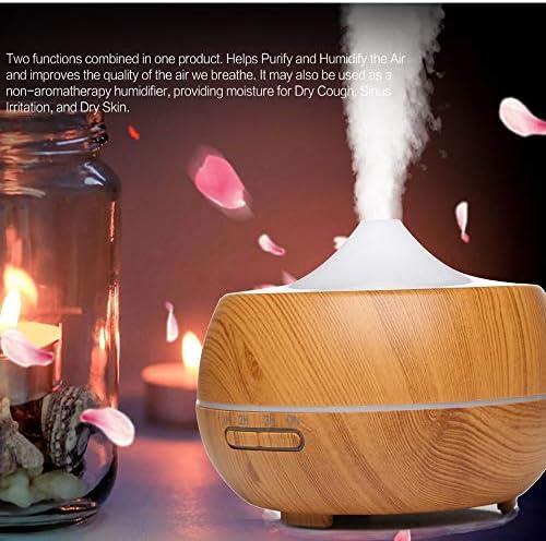 Holzkorn Ätzöllen-Diffusoren, 300ml-Beuchbriger mit kühlem Nebel und 4 Timer-Einstellung 7 Farbwechsel-LED-Lichter Aroma Air Purifiers,Natural