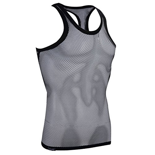c4a70e0fb3d Sexy Men's Underwear Sleeveless Vest Tank Top Mesh Fishnet Undershirt(Black  L) - Buy Online in Oman. | Apparel Products in Oman - See Prices, ...