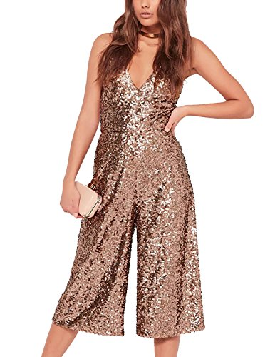 Haoduoyi Womens Casual Spaghetti Strap V Neck Backless Sequin Jumpsuit(L,Gold) (Sequin Jumper)