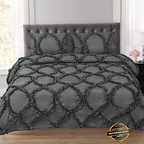 Ribbed Sweatshirt Rebels - Sandover Tatiana Ruched Fancy Ribbed Lattice 3 Piece Duvet and Pillow Sham Set  Size Queen   Style DUV-5301218201