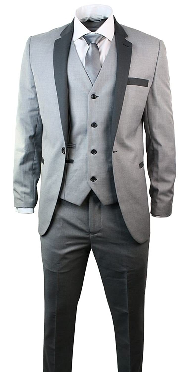 Marc Darcy Mens 3 Piece Suit Charcoal Trim Slim Fit Prom Grey at ...