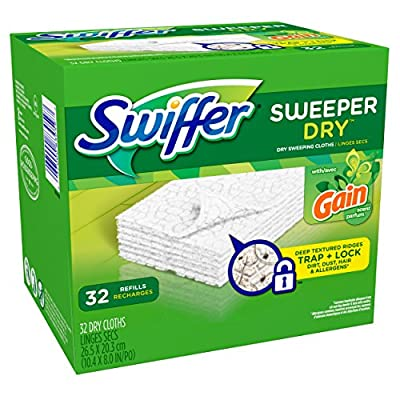 Swiffer Sweeper Dry Sweeping Pad Refills, Hardwood Floor Mop Cleaner Cloth Refill, Gain Scent, 32 Count