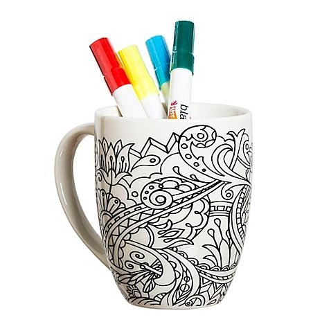"Color Your Own Coffee""One of a Kind"" Mug with Floral Accente"