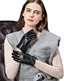 (US) YISEVEN Ladies Winter Touchscreen Lambskin Warm Lined Leather Gloves Warm Lined with Diamond Cuff BLACK 6.5