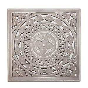 Wandpaneel Madera de Imagen Ornament Madera Tallada gris blanco 30x 30cm