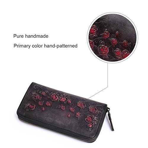 Purse Box Holder Women APHISONUK Card Designer Zipper Wallets Cowhide Header Layer Embossed For Dark Leather Grey Grey Clutch Gift Women's faqn7f