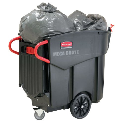 Rubbermaid Commercial FG9W7300BLA 120-gallon Mega Brute Mobile Waste Collector, 1-Pack, ()