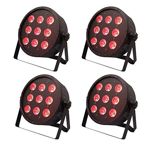 U`King RGBW Par Lights 9 LEDs x 10W for Stage Lighting by DMX Controller 4PCS