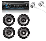 Pioneer MVH-S310BT Built-in Bluetooth, MIXTRAX, USB, Spotify, iPhone, Android Smart Sync, Car Digital Media Receiver w/Pandora Premium Trial + (4) 6.5' 2 Way Speaker Bundle/Free ALPHASONIK Earbuds