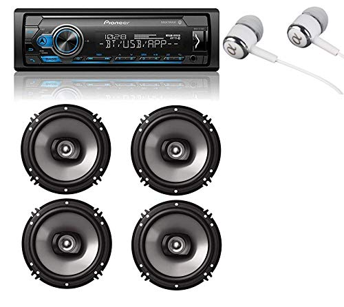 Pioneer MVH-S310BT Built-in Bluetooth, MIXTRAX, USB, Spotify, iPhone, Android Smart Sync, Car Digital Media Receiver w/Pandora Premium Trial + (4) 6.5″ 2 Way Speaker Bundle/Free ALPHASONIK Earbuds