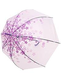 AMC Transparent Cherry Blossom Bubble Dome Shape Semi-Automatic Umbrella for Rain