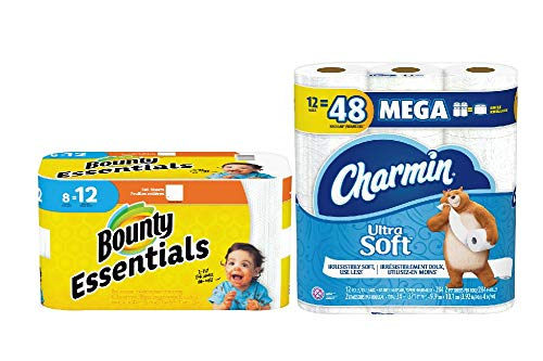 Bounty Essentials Paper Towels White in 8 Giant Rolls = 12 Regular Rolls & Charmin Ultra Soft Toilet Paper in 12 Mega Rolls.