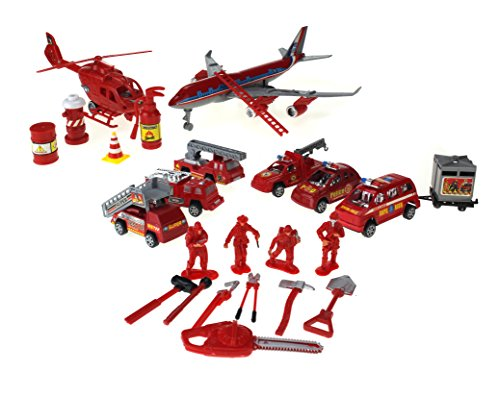 The Fire Rescue Station Toy Rescue Vehicle Playset w/ 6 Various Rescue Vehicles, Helicopter, Jet, 4 Figures, & (Rescue Jet)