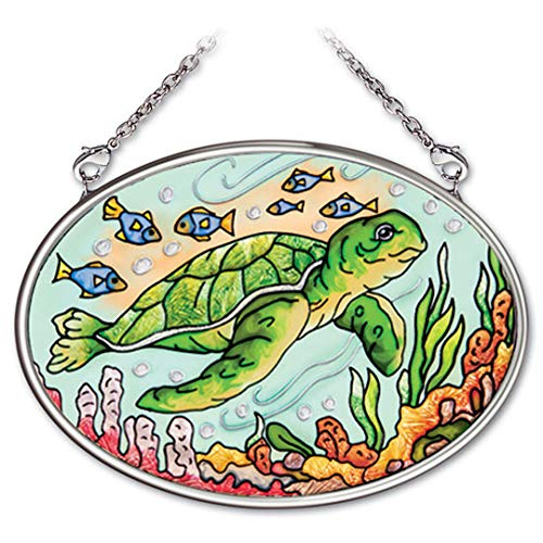 Amia 41972 4-1/4 by 3-1/4-Inch Oval Hand-Painted Glass Suncatcher, Aquatic Stamp Turtle, Small ()