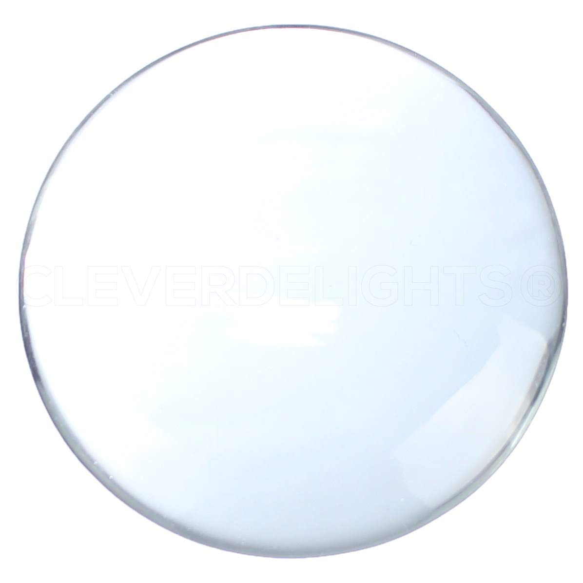 2 Pack CleverDelights 50mm Round Glass Cabochons Clear Magnifying Cabs Wafers 11mm Thick 2 Inch