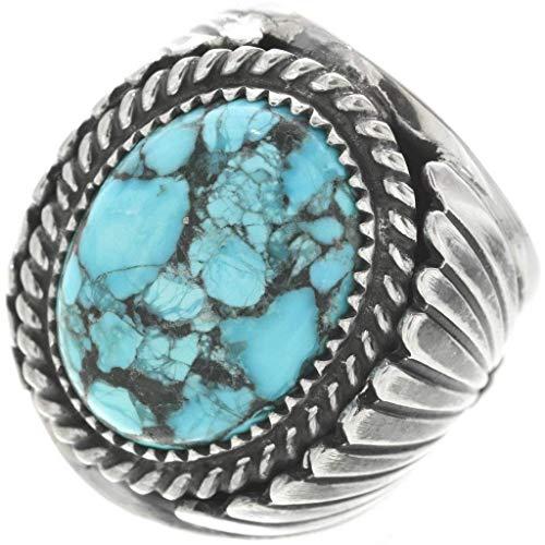 Spiderweb Turquoise Silver Mens Ring Navajo Big Boy Sterling Design 0508