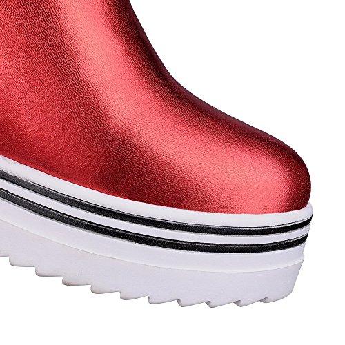 Baja VogueZone009 Material Mujeres Puntera Tacón Botas Cerrada Sólido Alto Suave Caña Rojo qx8Orqnw