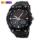SKMEI Fashion Sports Watch Military Time LED Back light Digital Watch 5ATM Waterproof Solar Power Dual Time Wrist Watch for Men and Women