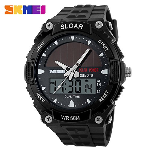 SKMEI Fashion Sports Watch Military Time LED Back light Digital Watch 5ATM Waterproof Solar Power Dual Time Wrist Watch for Men and Women by SKMEI