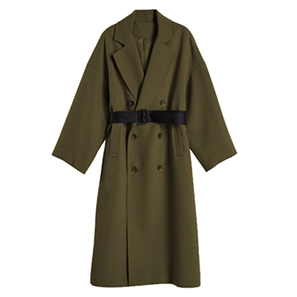 EVEDESIGN Women's Elegant Solid Long Trench Coat Belted Double Breasted Jacket Windbreaker