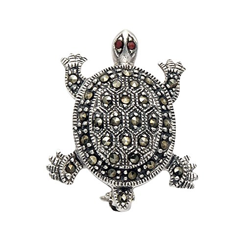 Sterling-Silver-Marcasite-Diamondback-Terrapin-Turtle-Pin-with-Faceted-Red-Crystal-Eyes