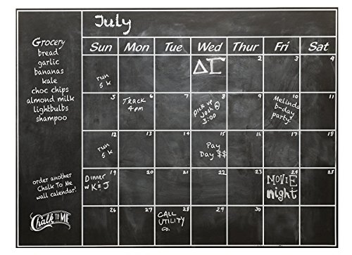 Connect Software Chalkboard Calendar Wall Decal - Perfect Blackboard Organizer