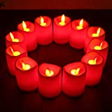 """ZTD flameless candles flickering taper pillar RED Plastic led candles lights set for 12 Battery-operated LED Candles(2""""x3"""")"""