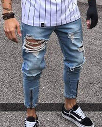 Ragazzo Jeans Strappati Qk Fit Da Moda Slim Uomo Vintage Pantaloni lannister Hellblau Denim 4I4fn8R