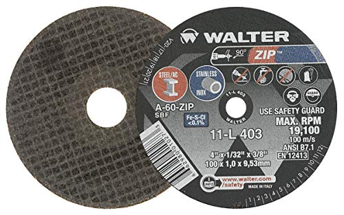 - Walter Surface Technologies 11L403 ZIP Performance Cutting and Grinding Cutoff Wheel - [Pack of 25] A-60-ZIP Grit, 4 in. Abrasive Wheel. Abrasive and Finishing Supplies