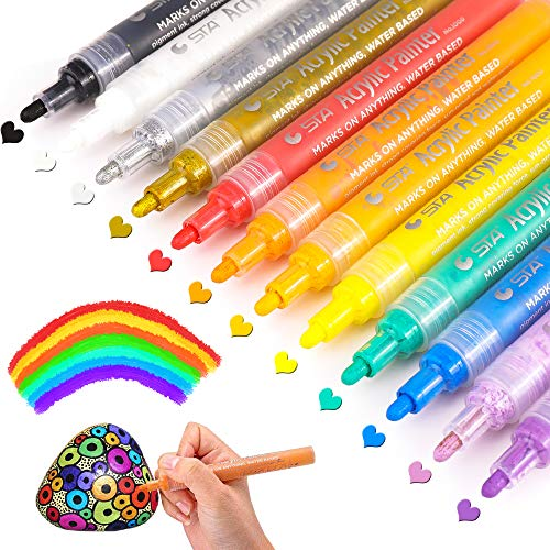 Acrylic Paint Pens for Rock Painting, Ceramic, Glass, Mugs, Canvas, Fabric, Wood, Pumpkins, DIY Crafts, Scrapbooking, Card Making, Acrylic Paint Marker Pens Permanent, 12 Colors