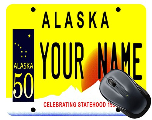 BleuReign(TM) Personalized Custom Name Alaska State License Plate Square Mouse - Anchorage Square