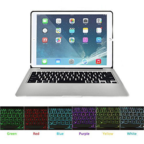 HIOTECH iPad Mini 4 Bluetooth Keyboard Case Aluminum Alloy Keypad Cover for iPad Mini 4 with 7 LED Backlit Keys & 2800mah Capacity Power Bank (Silver) by HIOTECH (Image #7)