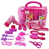 Fstop Labs Kids Make Up Kit, Pretend Play Make Up Case and Cosmetic Set, Girls Pretend Play Hair Styling Set Including Hair Dryer Comb Curler Scissors Mirror kit