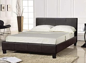 king size black bed frame 5ft faux leather prado by comfy living