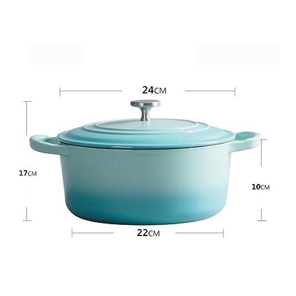 ZHANG MEI Sopa cacerola olla de hierro fundido 24 cm espesante ...