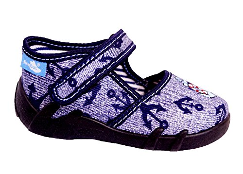 Renbut Baby Jungen Kinder Hausschuhe Sandalen Lauflernschuhe Anker Jeans Blau Innensohle Leder Blau