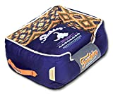 TOUCHDOG '70's Vintage-Tribal' Diamond Patterned Ultra-Plush Rectangular-Boxed Pet Dog Bed Lounge, Large, Midnight Blue, Sandalwood