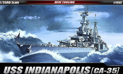 - Academy Plastic Model 1/350th Scale USS CA-35 Indianapolis Military Ship Kit #14107