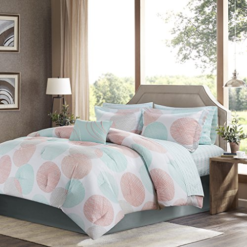 Madison Park Essentials Ara Coral Printed Complete Bed And Sheet Set 9 Piece Queen (Printed Coral)