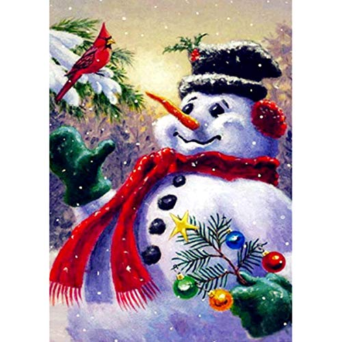 MXJSUA 5D DIY Diamond Painting Kit by Number Full Drill Round Beads Crystal Rhinestone Embroidery Cross Stitch Picture Supplies Arts Craft Wall Sticker Decor 12x16In Cute Snowman