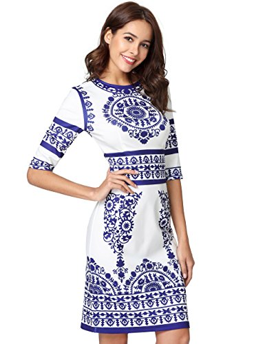 (Floerns Women's Porcelain Print Work Sheath Business Three Quarter Pencil Dress Large White#2)