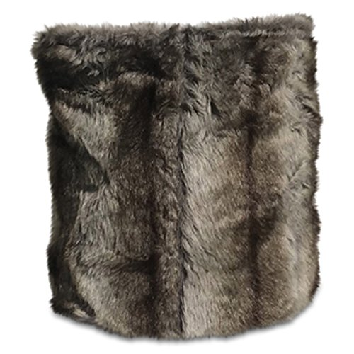 Whole House Worlds The Tribeca Faux Fur Square Storage Bucket Basket, Fluffy Gray Ombre, Black Leather Handles, Luxurious Soft Polyester, Flat Bottom, 16 L x 14¼ W x 15 H - Rustic Mountain Wood Smokey
