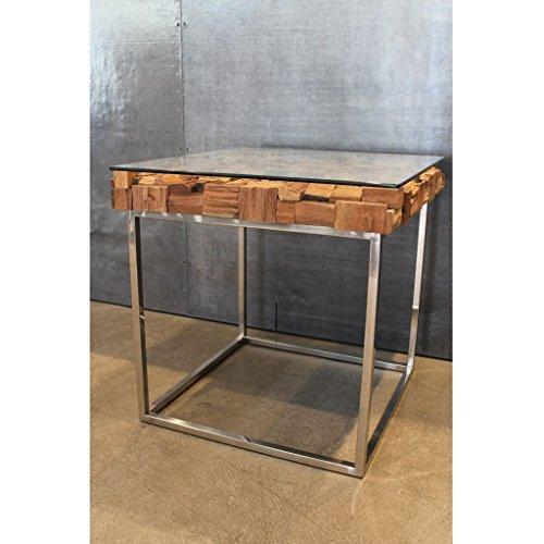 Beistelltisch Chill Block, Holzplatte mit Glas abgedeckt und polierten Stahlfüßen