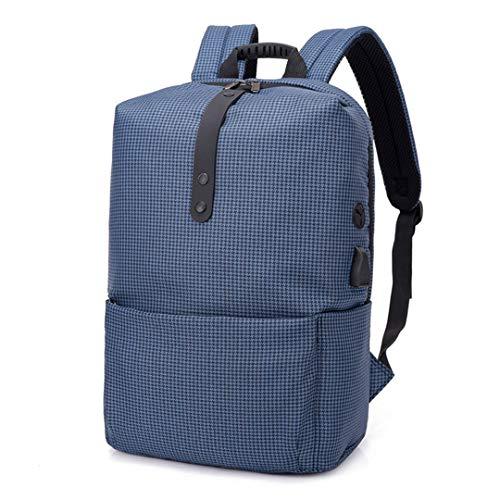 (Casual Men Laptop Backpack Fashion Plaid Large Capacity Travel Rucksack School Bag Blue)