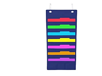 hanging file folder holder cascading fabric organizer 7 pocket home school office classroom filing storage