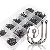 500 Pcs High Carbon Steel Fishing Hooks Have #3-12 Size with Box Set Fishing Gear Equipment Accessories